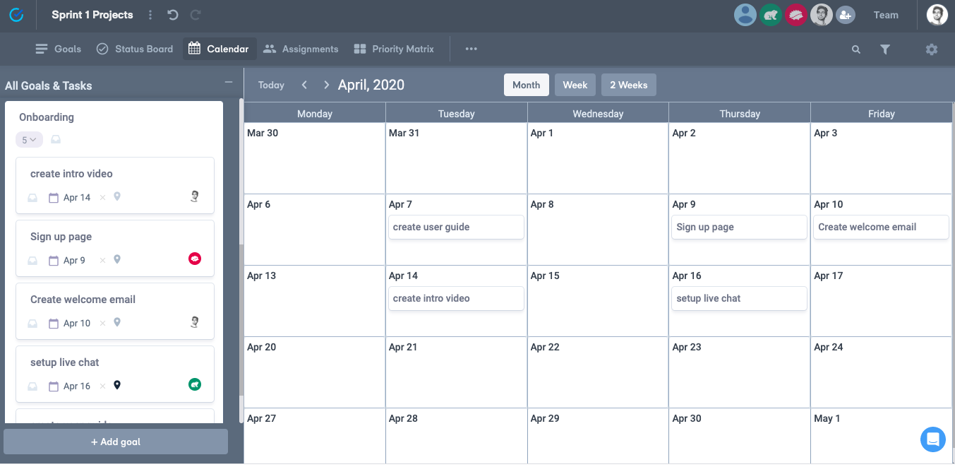 View tasks by status, due dates, or team member assignment